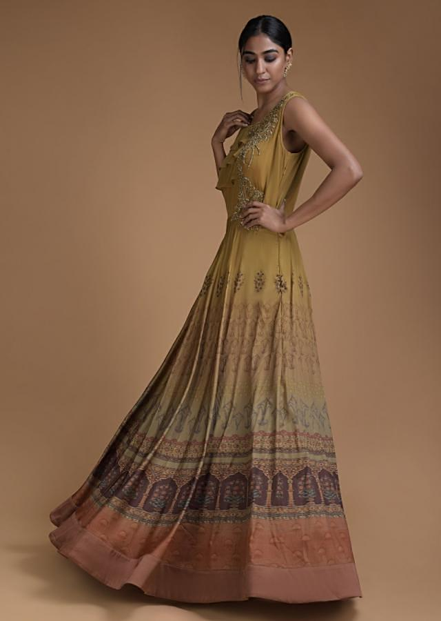 Ochre Shaded Indowestern Gown With Ethnic Print, Embroidery Work And Layered Frill Online - Kalki Fashion