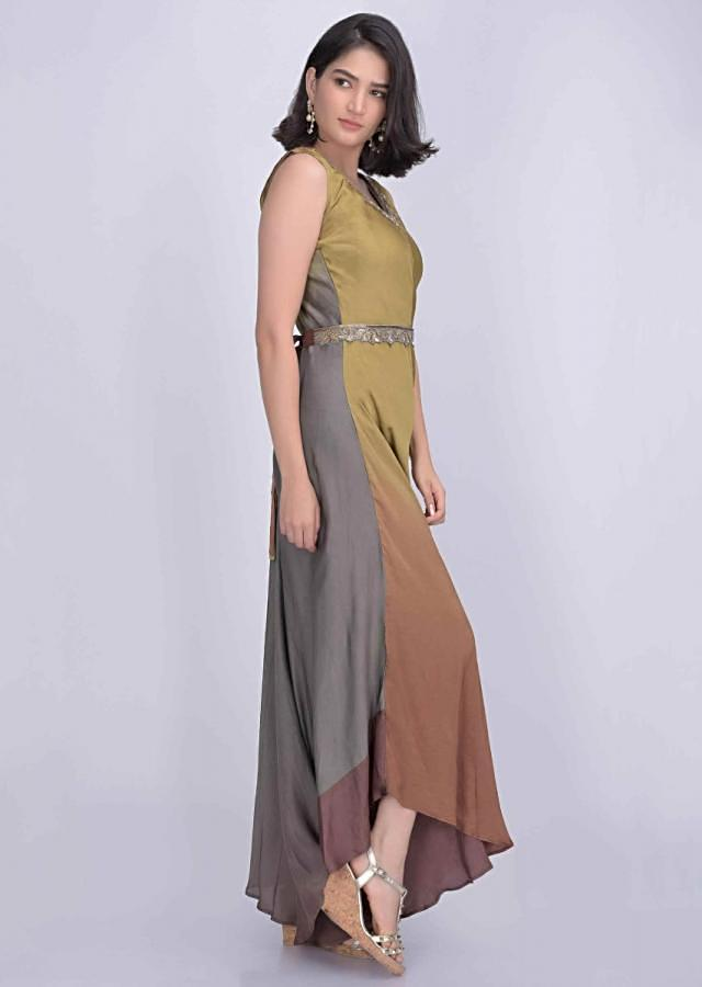 Ochre Yellow And Multi Color Shaded Jumpsuit In Satin Crepe With Crepe Jacket Online - Kalki Fashion