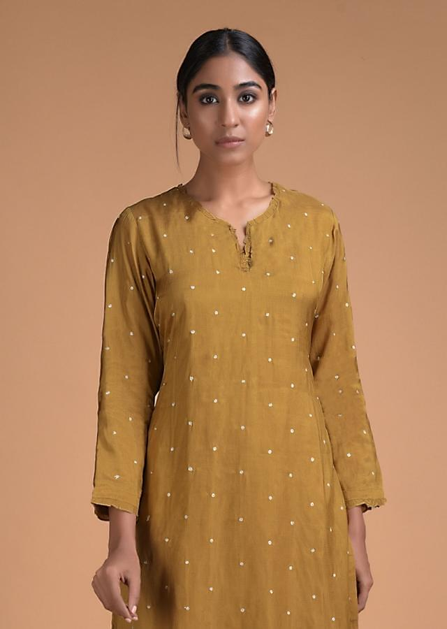 Ochre Yellow Straight Cut Palazzo Suit With Zari Embroidered Buttis Online - Kalki Fashion