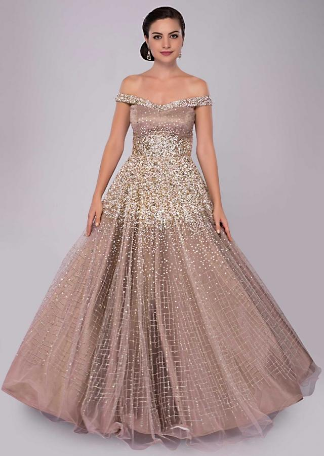 Off shoulder champagne beige gown with cut dana and salli only on Kalki