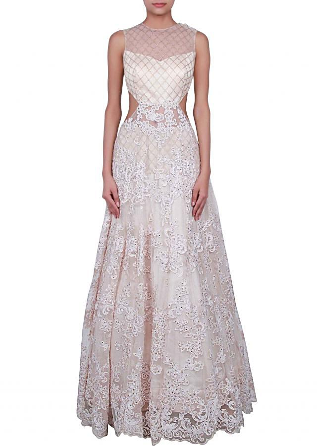 Off white adorn enhanced in sequin and lace only on Kalki