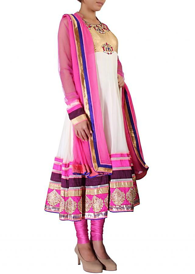 Off white anarkali suit embellished in resham and zari embroidery only on Kalki
