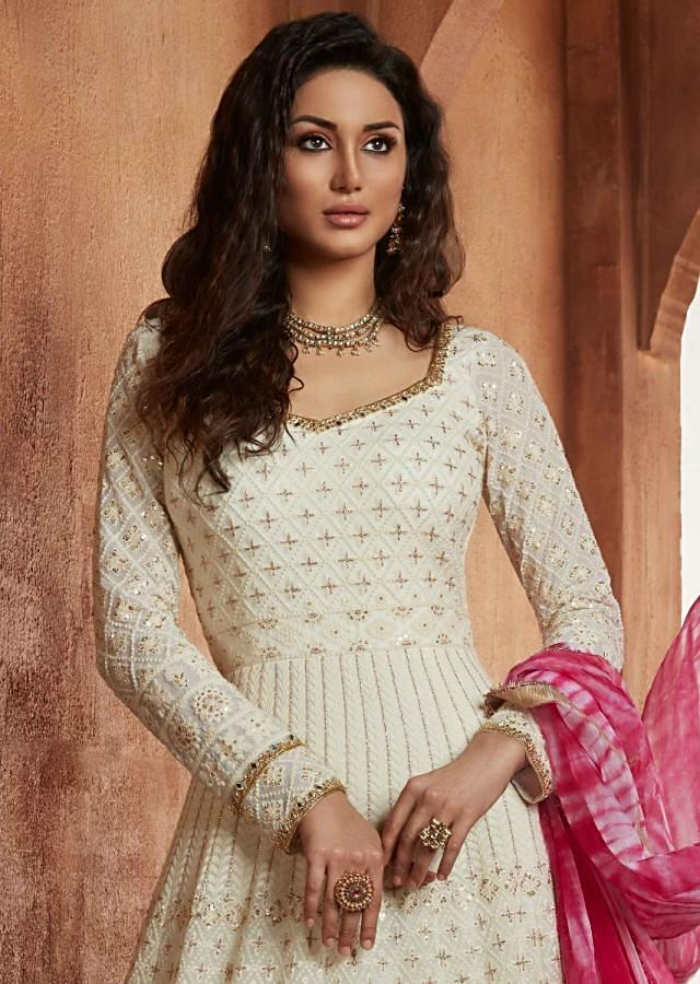 Off White Anarkali Suit In Georgette With Thread Embroidery And Shaded Organza Dupatta Online - Kalki Fashion