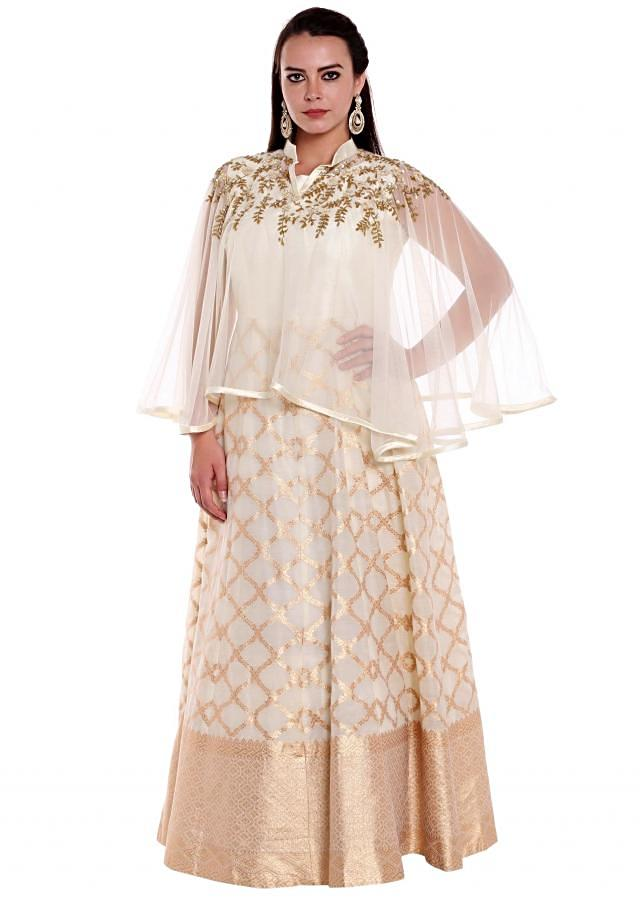 Off white anarkali suit with sequin embroidered cape only on Kalki
