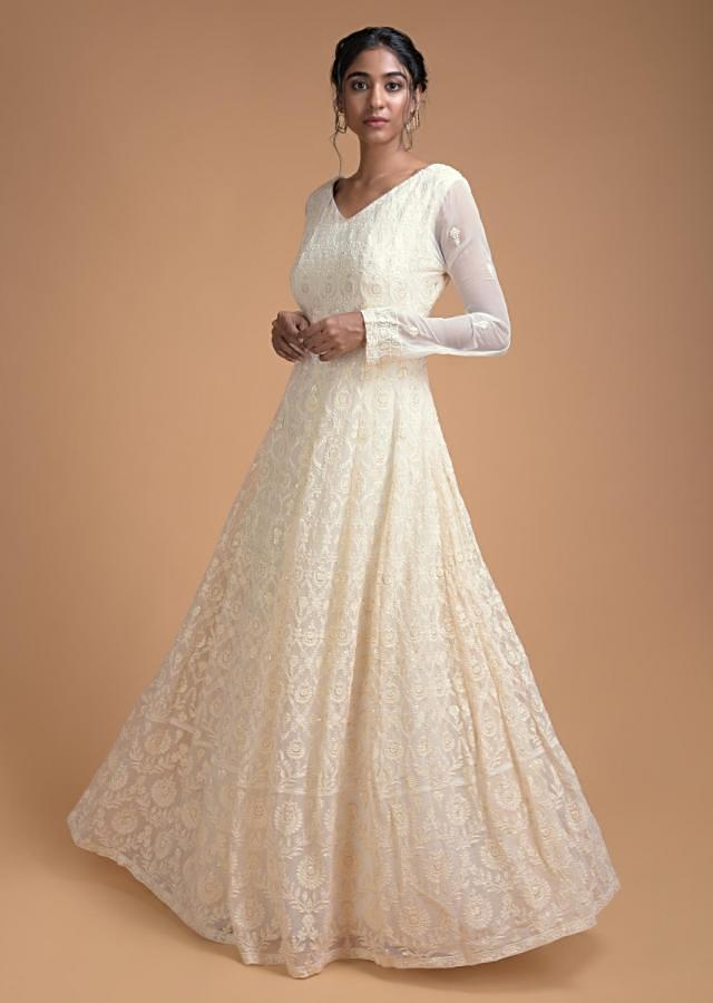 Off White Anarkali Suit With Thread And Sequins Embroidery In Moroccan And Floral Jaal Online - Kalki Fashion