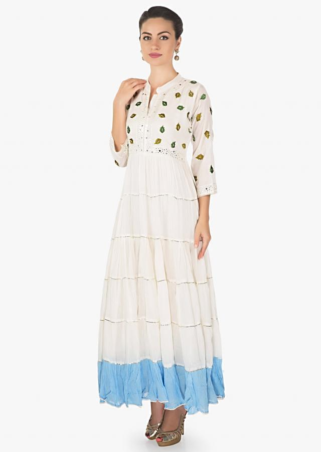 Off white and blue kurti in mul cotton with leaf moti embroidery only on Kalki