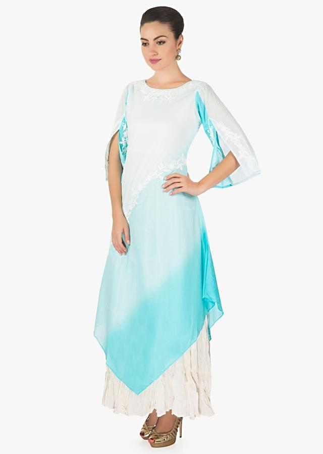 Off white and blue shaded kurti with thread embroidered neckline only on Kalki