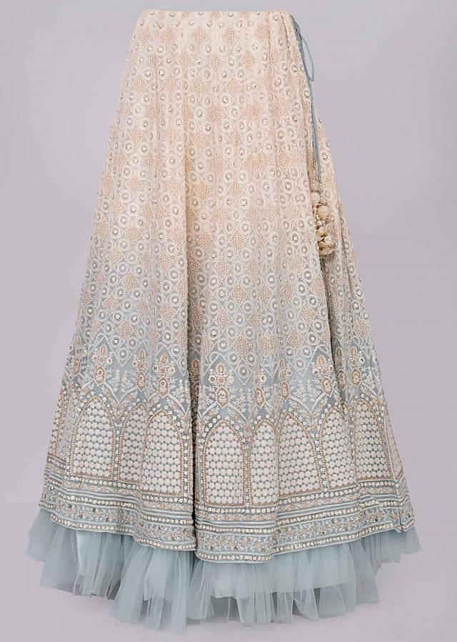 Off white and mist blue shaded lucknowi thread embroidered lehenga set only on Kalki