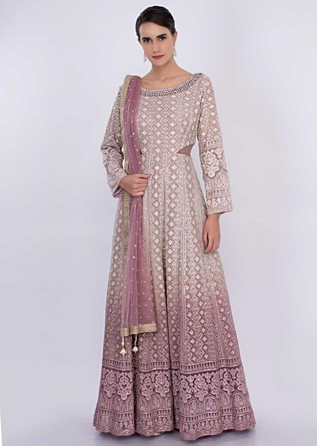 Off White And Orchid Anarkali With Shaded Effect And Lucknowi Embroidery Online - Kalki Fashion