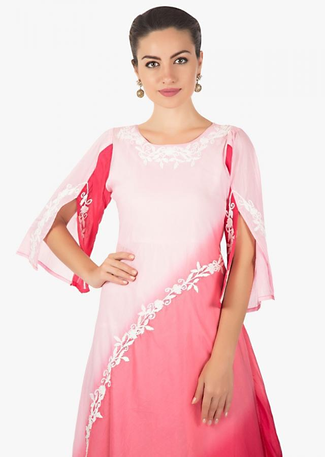 Off white and pink shaded kurti with thread embroidered neckline only on Kalki