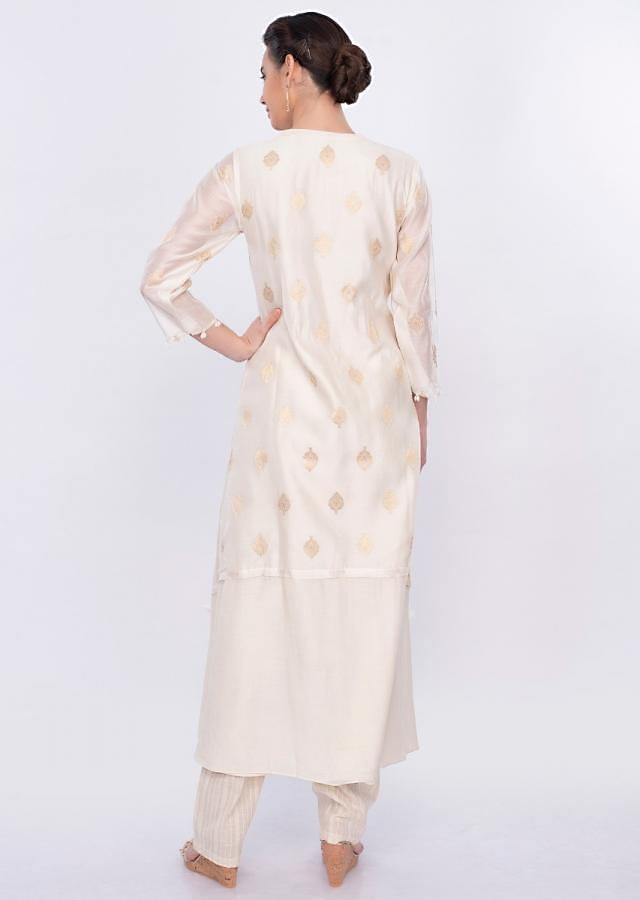 Off white attached jacket suit with jute cotton bottom only on Kalki