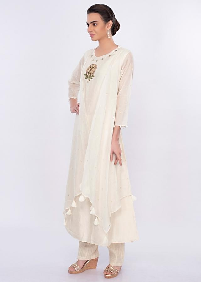 Off White Suit With Attached Jacket And Jute Cotton Bottom Online - Kalki Fashion