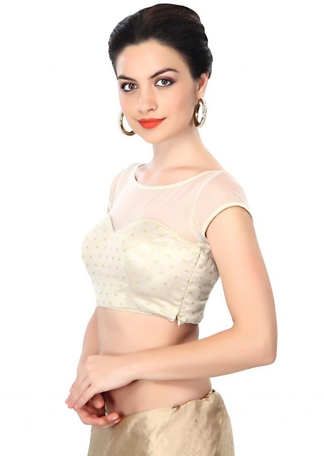 Off white blouse featuring in sequin embroidery only on Kalki