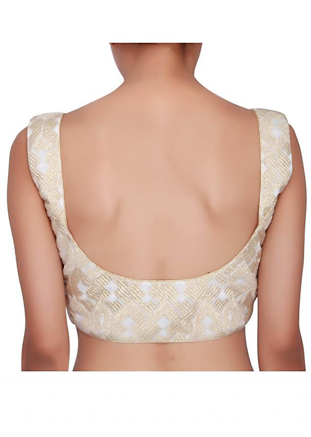 Off-white blouse in shimmer net embellished in zari only on Kalki