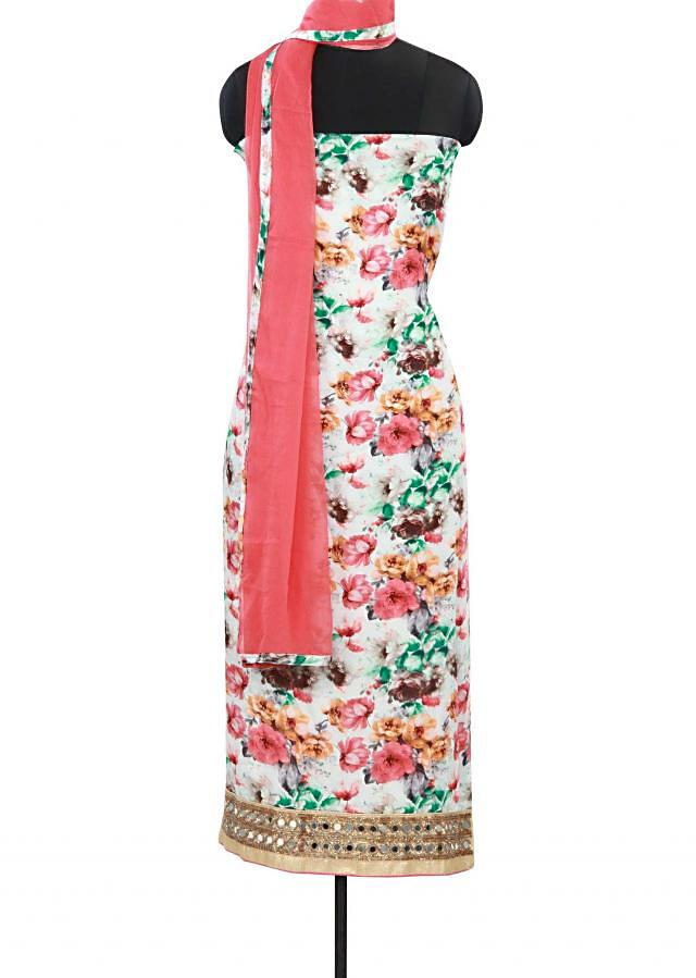 Off white color unstitched suit adorn in mirror and print only on Kalki