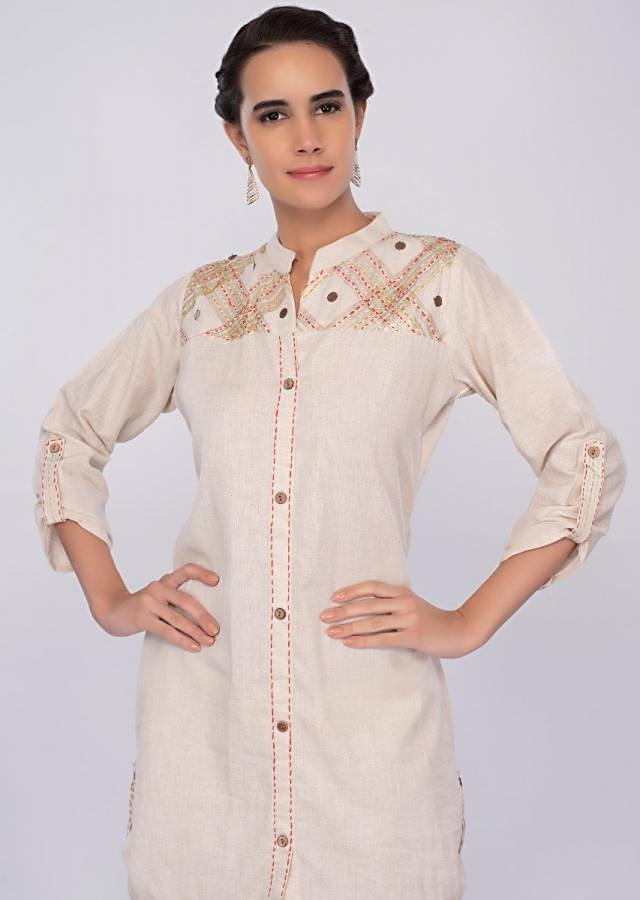 Off white cotton jute suit with fancy skirt only on kalki