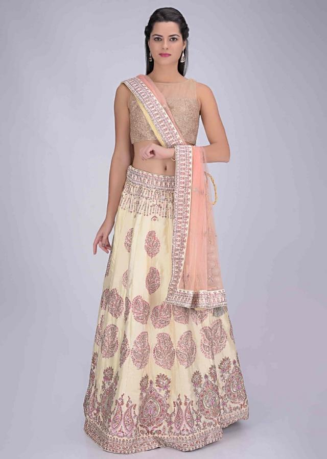 Off White Lehenga In Cotton With Powder Peach Net Dupatta Online - Kalki Fashion