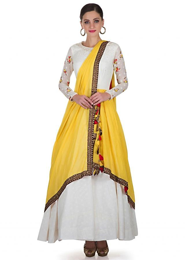 Off White Cotton Silk Gown with Yellow Silk Net Drape Featuring Resham, Sequins, and Zari only on Kalki