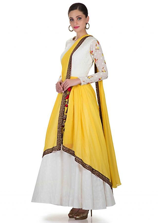 Off White Gown In Cotton Silk With Yellow Silk Net Drape With Resham, Sequins, And Zari Work Online - Kalki Fashion