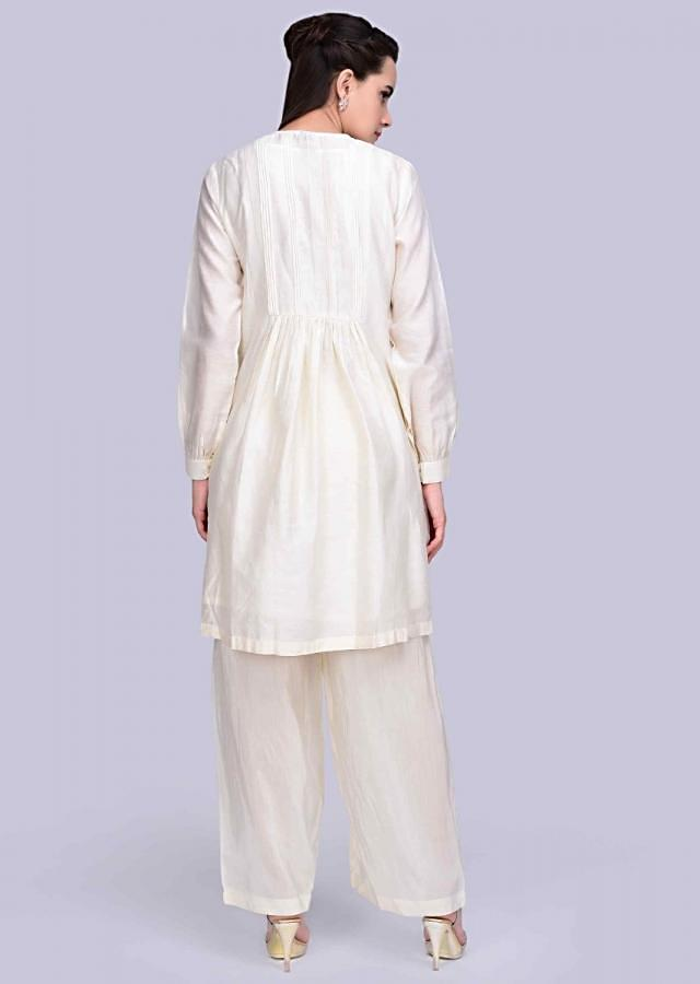 Off White Suit Set In Cotton Silk With Multi Color Floral Embroidered Placket Online - Kalki Fashion