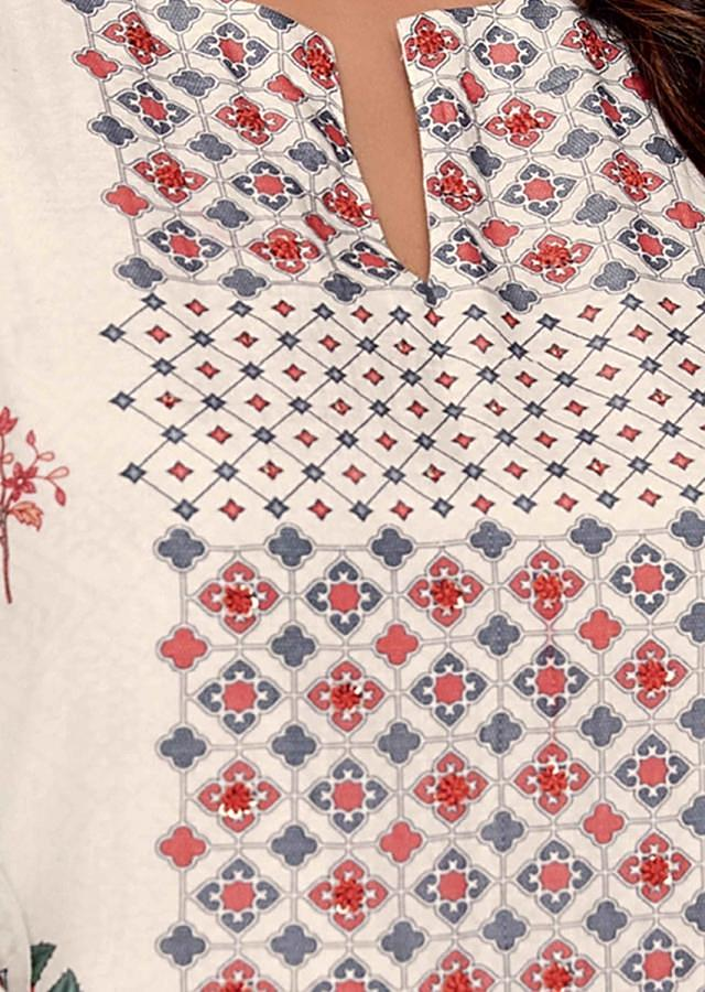 Off White Unstitched Suit Set In Cotton With Geometric And Floral Print Online - Kalki Fashion