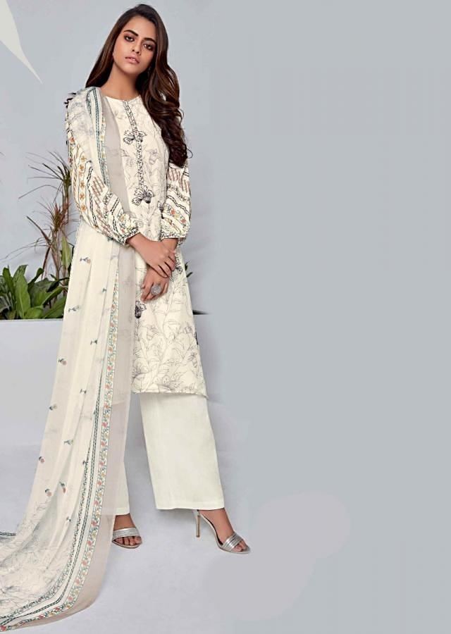 Off White Cotton Unstitched Suit Set With Floral Print And Embroidery Work Online - Kalki Fashion