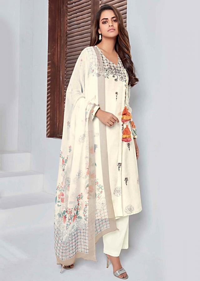 Off White Unstitched Suit Set In Cotton With Geometric Print Online - Kalki Fashion