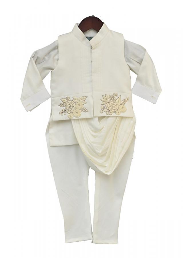 Off white Embroidery Nehru Jacket with cowl drape kurta Set by Fayon Kids