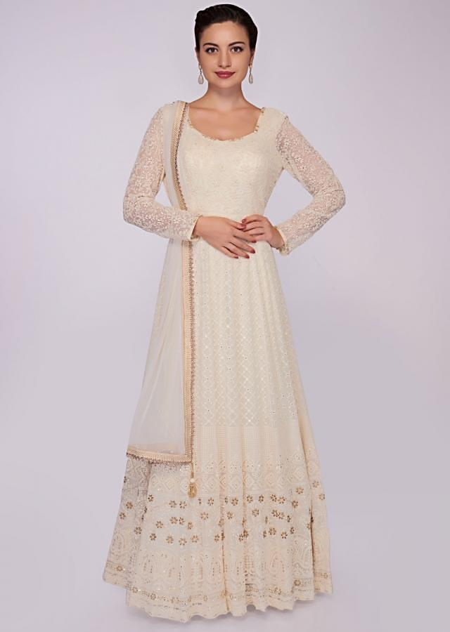 Off White Anarkali Dress In Georgette With Chikan Embroidery Online - Kalki Fashion