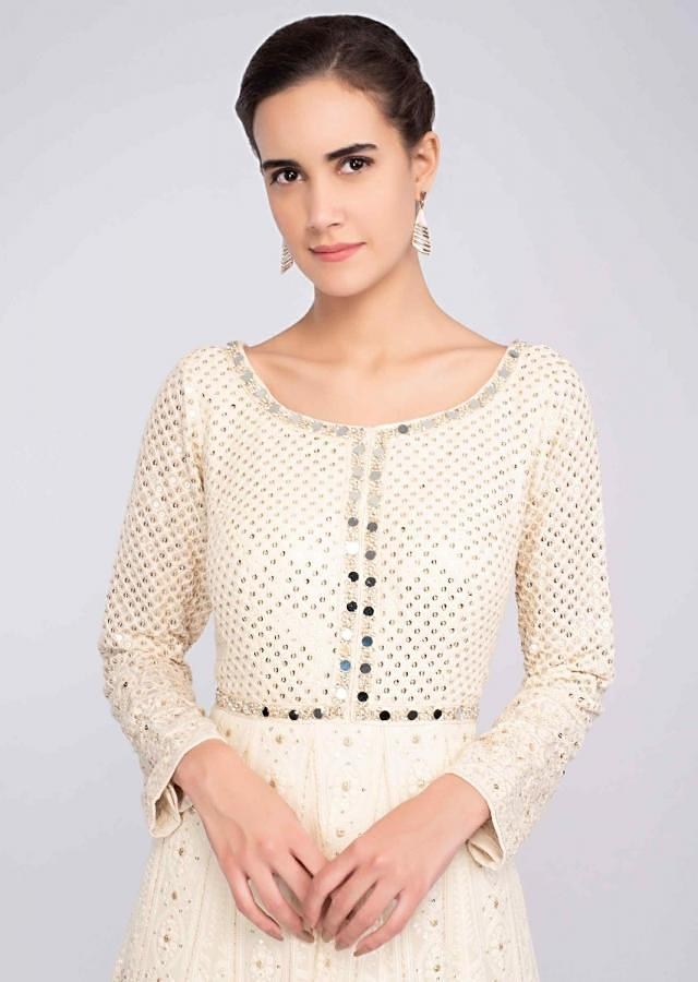 Off White Anarkali Suit In Georgette With Lucknowi Embroidery Online - Kalki Fashion