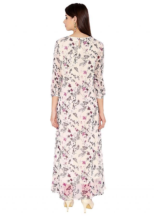 Off White Georgette Kurti With Boat Neck Contemporary Maxi Dress Style Only On Kalki