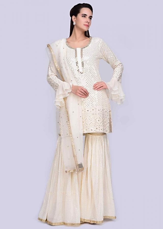 Off White Sharara Suit Set In Georgette With Thread Embroidery Online - Kalki Fashion