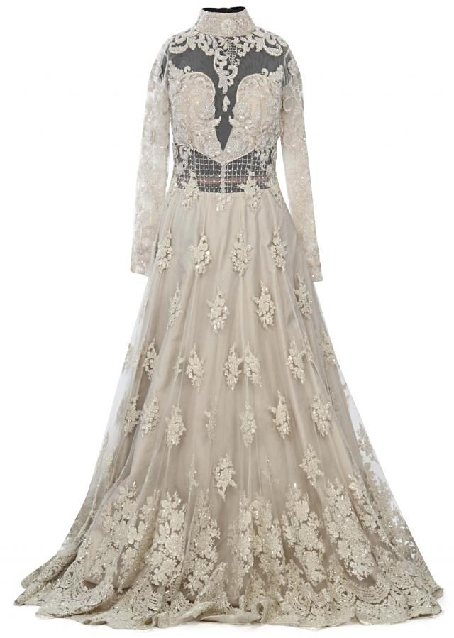 Off white gown adorn in moti and resham embroidery only on Kalki