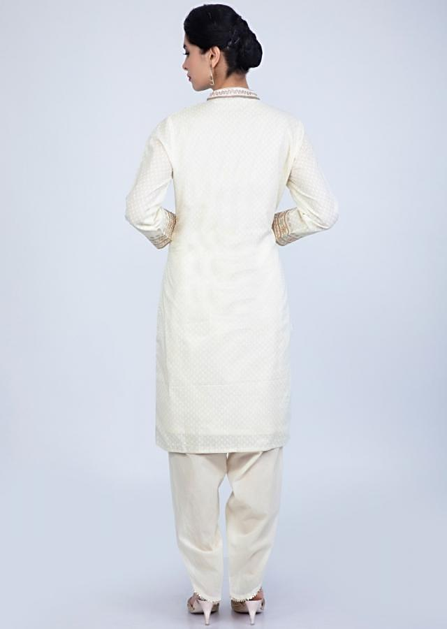 Off White Dhoti Suit In Jacquard Cotton With Front Panel Embroidery Online - Kalki Fashion