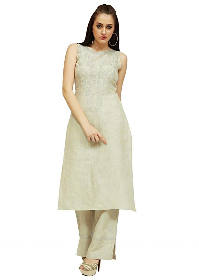 Off white kurta with straight pant in linen