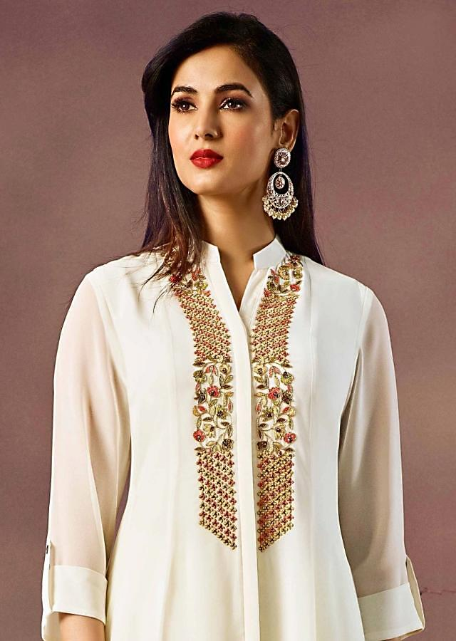 Off white kurti with front short and back long in resham embroidered placket