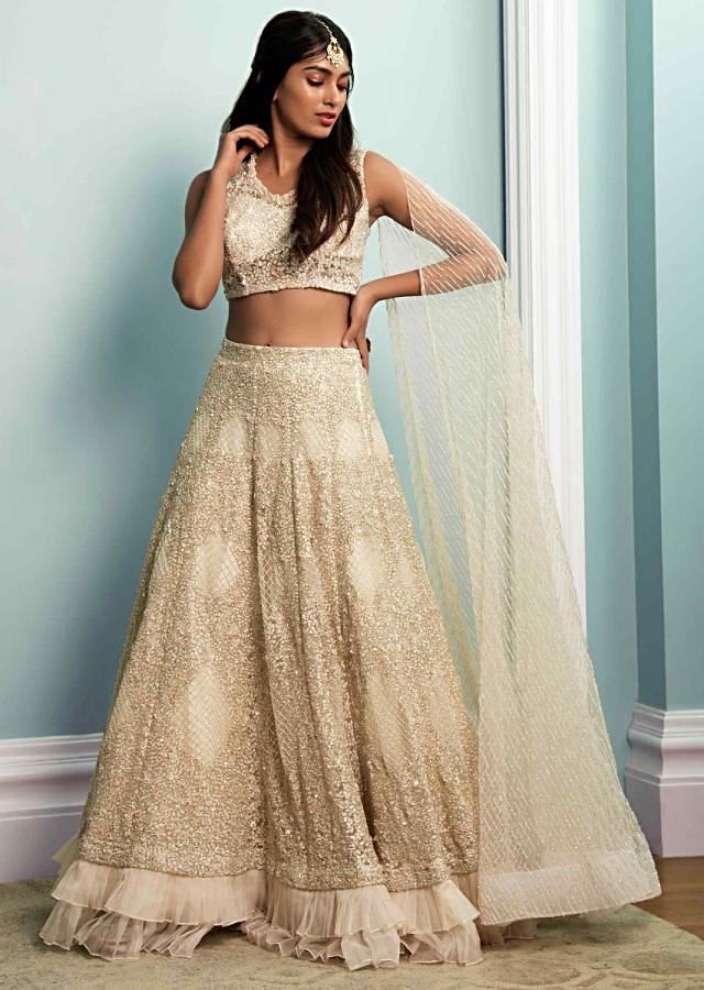Off White Lehenga Choli In Hand Embroidered Net With Floral Jaal Pattern Online - Kalki Fashion