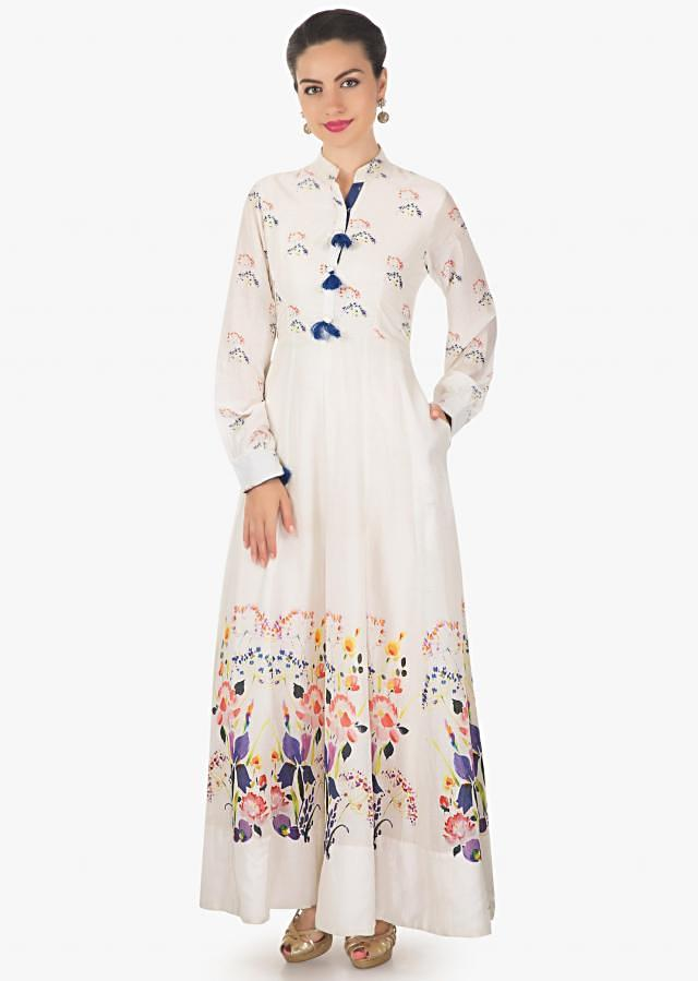 Off white long dress in cotton with floral printed bodice and hem only on Kalki