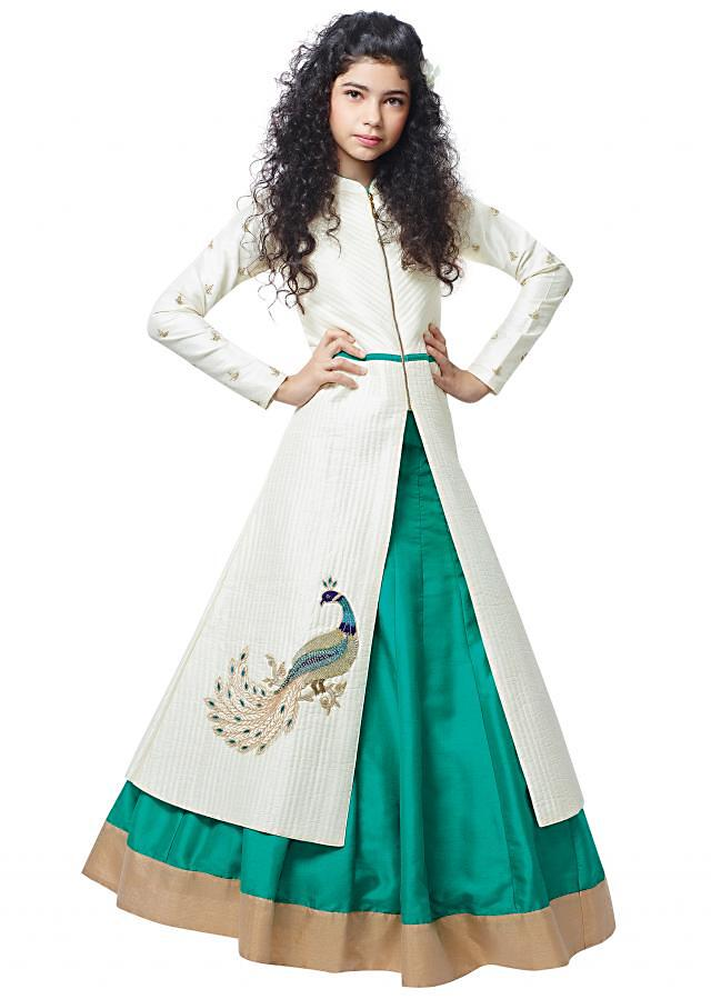 Off white long jacket adorn in peacock motif embroidery