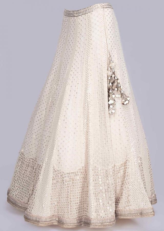 Off White Lehenga In Lucknowi Georgette With Mirror And Gotta Embroidered Blouse And Net Dupatta Online - Kalki Fashion