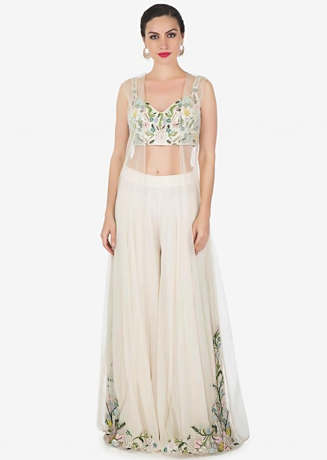 Off White Palazzo And Jacket Blouse Set In Net Georgette With Zardosi And French Knot Online - Kalki Fashion