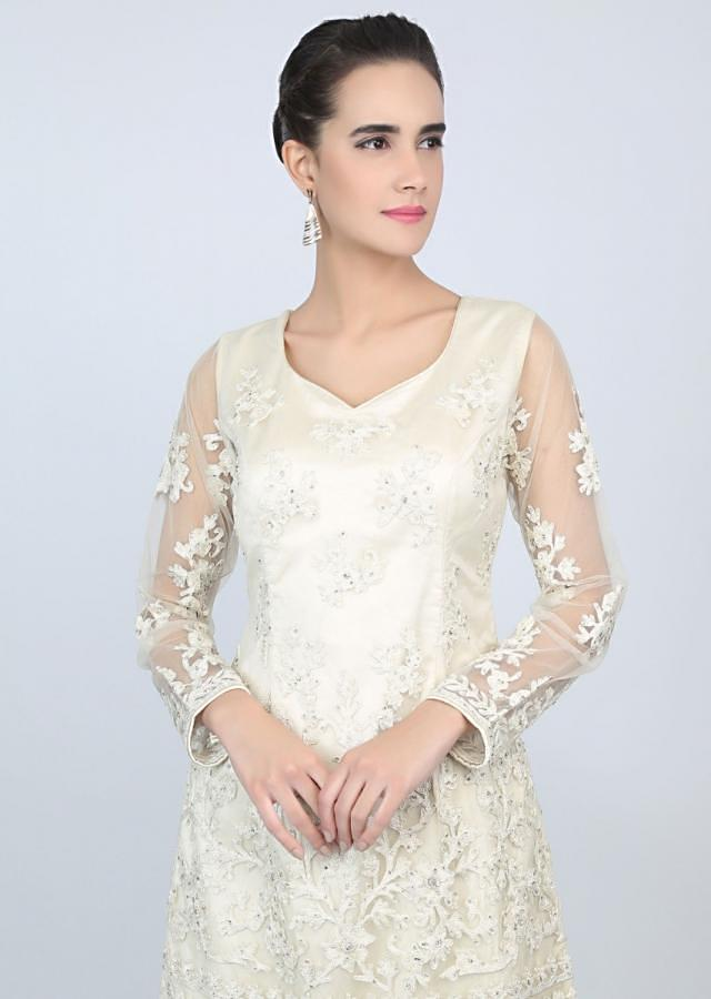 Off White Palazzo Suit In Net Set With Floral Cord Embroidery Online - Kalki Fashion