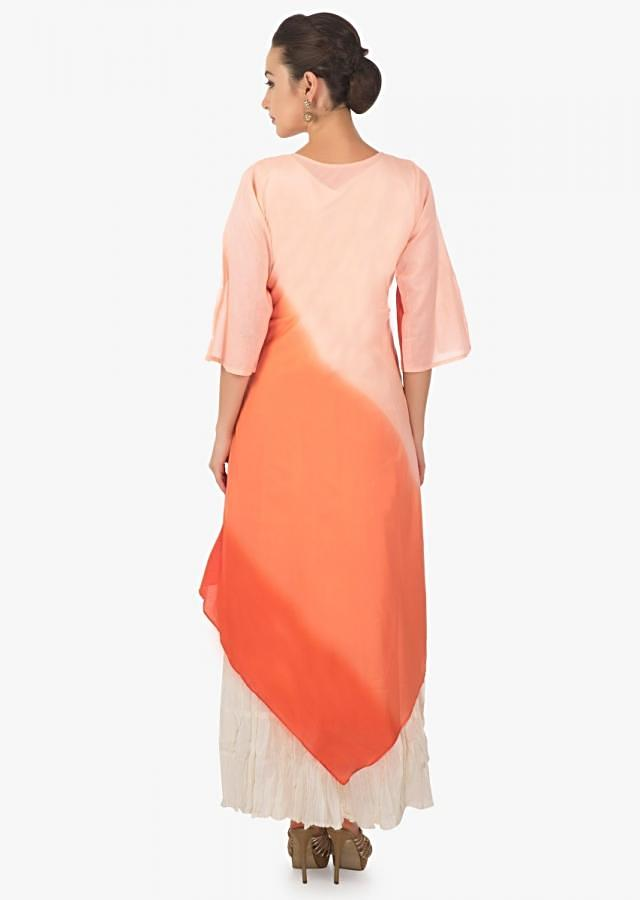 Off white, peach and orange shaded kurti with thread embroidered neckline only on Kalki