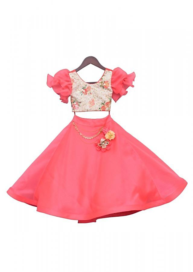 Off white Printed Choli with  coral Lehenga by Fayon Kids