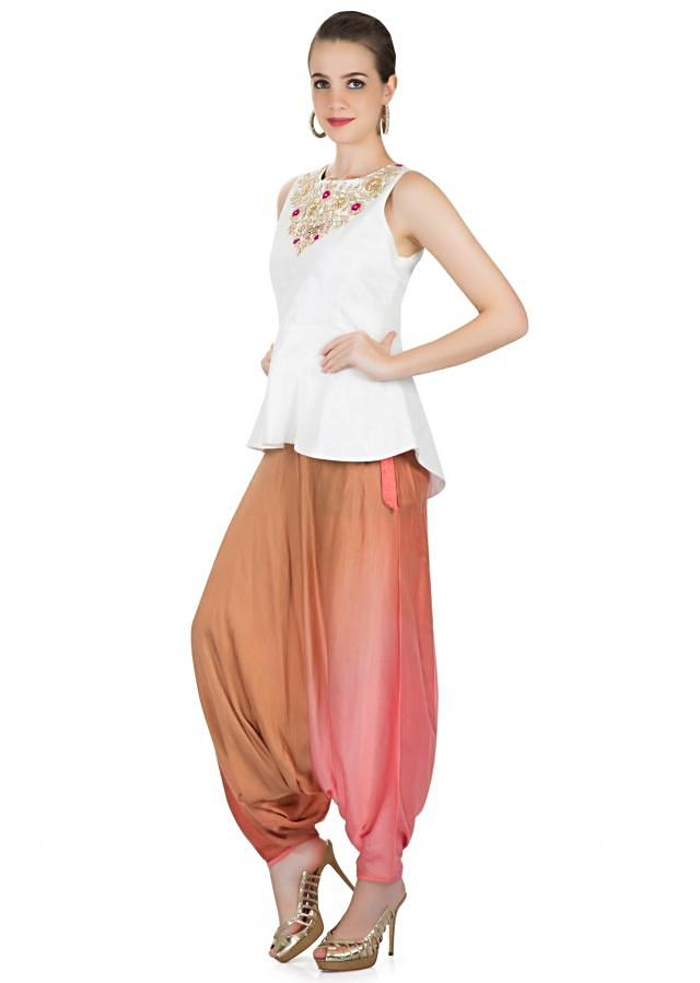 Off White Raw Silk Top Embellished with Zardosi Work and Multi-coloured Satin Alladin Pants only on Kalki