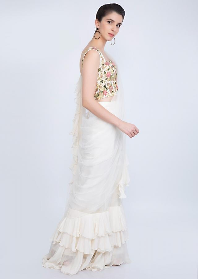 Off White Ready To Wear Saree In Net With Ruffled Hem And Pallu Online - Kalki Fashion