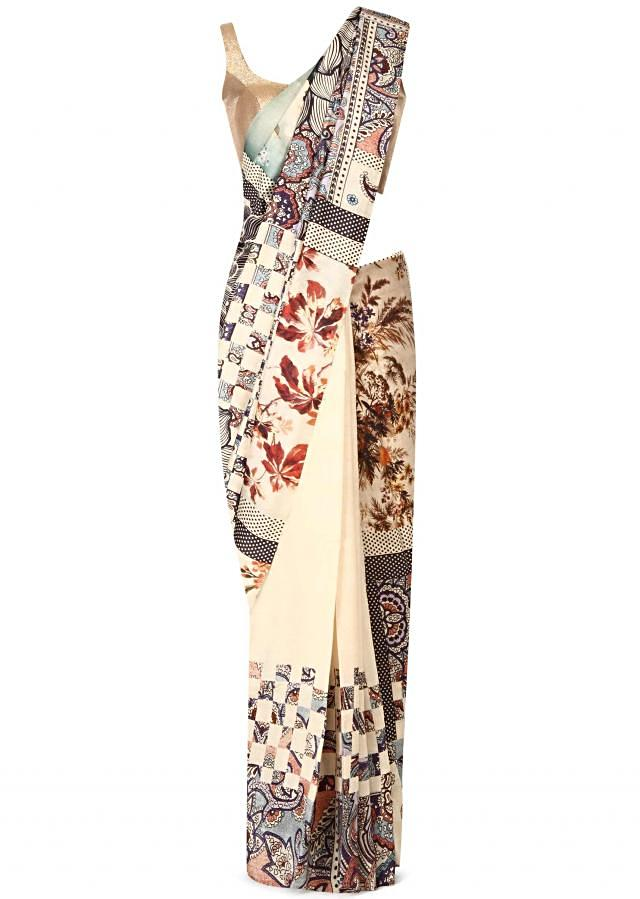 Off white saree in floral print only on Kalki