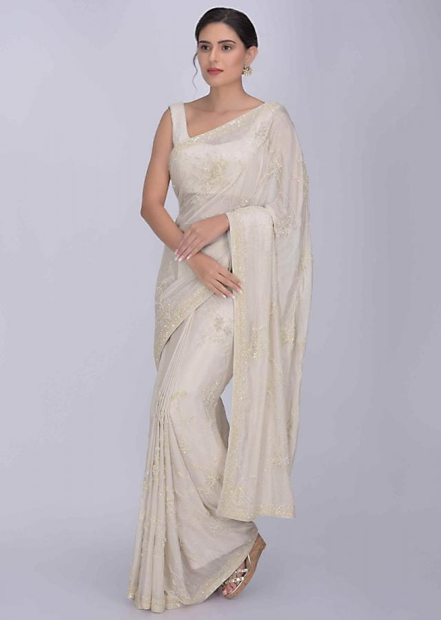Off White Saree In Shimmer Chiffon With Matching Blouse Piece Online - Kalki Fashion