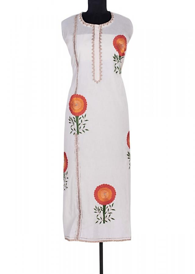 Off White Semi Stitched Suit In Cotton With Floral Resham Butti Online - Kalki Fashion