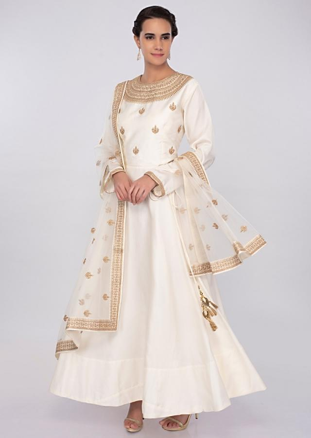 Off white silk anarkali dress with embroidered bodice only on kalki
